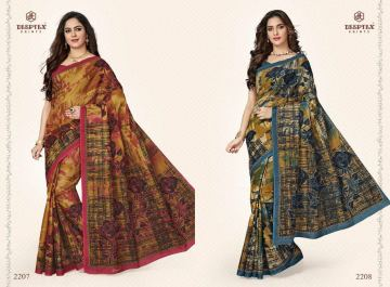 DEEPTEX MOTHER INDIA VOL 22 COTTON PRINT SAREES WITH BLOUSE COLLECTION WHOLESALE PRICE (5)JPG