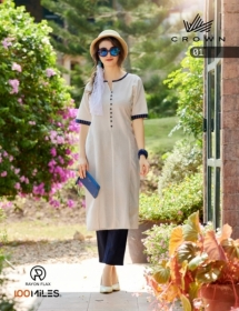 100 MILES PRESENTS CROWN RAYON FLAX DESIGNER KURTIS (01) JPG