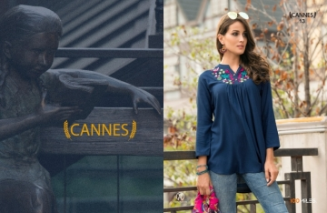 100 MILES CANNES VOL-03 RAYON SLUB EMBROIDERED TUNIC SHORT TOP WHOLESALE PRICE(01)JPG