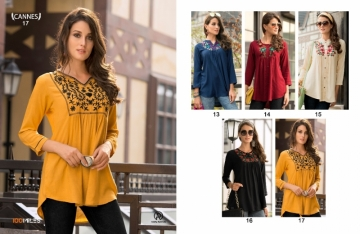 100 MILES CANNES VOL-03 RAYON SLUB EMBROIDERED TUNIC SHORT TOP WHOLESALE PRICE(3)JPG