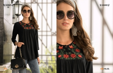 100 MILES CANNES VOL-03 RAYON SLUB EMBROIDERED TUNIC SHORT TOP WHOLESALE PRICE(4)JPG