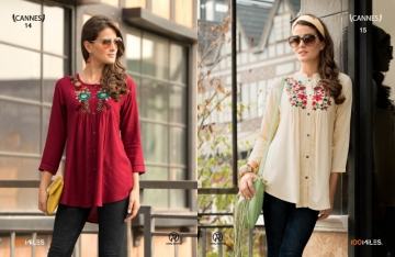 100 MILES CANNES VOL-03 RAYON SLUB EMBROIDERED TUNIC SHORT TOP WHOLESALE PRICE(5)JPG
