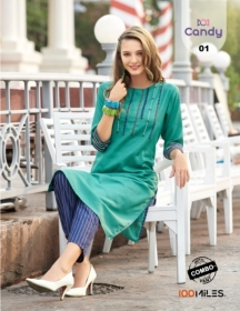 100 MILES LAUNCH CANDY COTTON KURTI WITH BOTTOM WHOLESALE PRICE (01) JPG