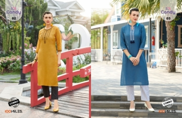 100 MILES LAUNCH CANDY COTTON KURTI WITH BOTTOM WHOLESALE PRICE (2) JPG