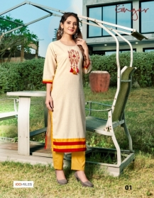 100 MILES PRESENTS GINGER COTTON DESIGNER EMBROIDERY KURTI (2) JPG