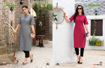 100 MILES PRESENTS VIVANA PLAIN COTTON STRAIGHT KURTI WHOLESALER PRICE (3) JPG
