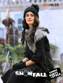 100 MILES SNOWFALL COTTON LONG KURTI WITH STOLE WHOLESALE SUPPLIER SURAT(3)JPG