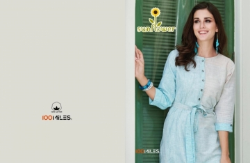 100 MILES SUNFLOWER FANCY COTTON DESIGNER LONG KURTIS     WHOLESALE PRICE(01)JPG