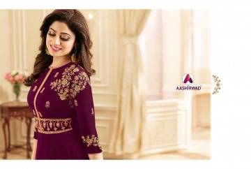 AASHIRWAD CREATION CELEBRITY PARTY WEAR FAUX GEORGETTE EMBROIDERED SALWAR SUITS WHOLESALE PRICE (11) JPG