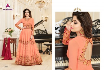AASHIRWAD CREATION CELEBRITY PARTY WEAR FAUX GEORGETTE EMBROIDERED SALWAR SUITS WHOLESALE PRICE (12) JPG