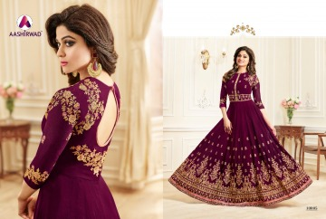 AASHIRWAD CREATION CELEBRITY PARTY WEAR FAUX GEORGETTE EMBROIDERED SALWAR SUITS WHOLESALE PRICE (14) JPG