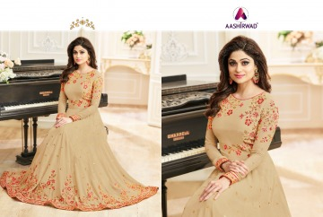 AASHIRWAD CREATION CELEBRITY PARTY WEAR FAUX GEORGETTE EMBROIDERED SALWAR SUITS WHOLESALE PRICE (16) JPG