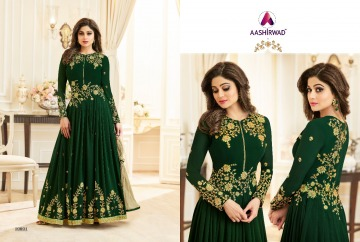 AASHIRWAD CREATION CELEBRITY PARTY WEAR FAUX GEORGETTE EMBROIDERED SALWAR SUITS WHOLESALE PRICE (3) JPG