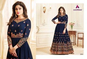 AASHIRWAD CREATION CELEBRITY PARTY WEAR FAUX GEORGETTE EMBROIDERED SALWAR SUITS WHOLESALE PRICE (4) JPG