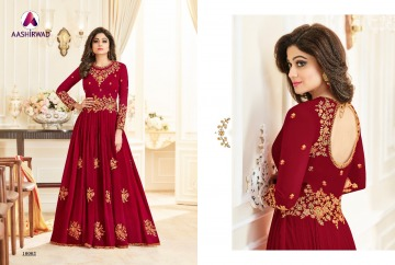 AASHIRWAD CREATION CELEBRITY PARTY WEAR FAUX GEORGETTE EMBROIDERED SALWAR SUITS WHOLESALE PRICE (9) JPG