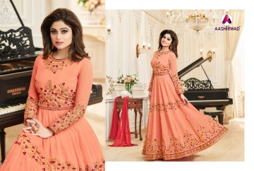 AASHIRWAD CREATION CELEBRITY PARTY WEAR FAUX GEORGETTE EMBROIDERED SALWAR SUITS WHOLESALE PRICE (10) JPG