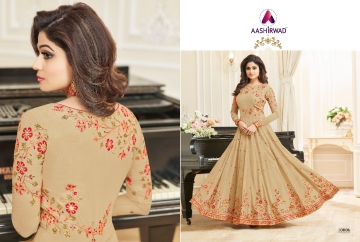 AASHIRWAD CREATION CELEBRITY PARTY WEAR FAUX GEORGETTE EMBROIDERED SALWAR SUITS WHOLESALE PRICE (15) JPG