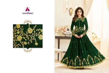 AASHIRWAD CREATION CELEBRITY PARTY WEAR FAUX GEORGETTE EMBROIDERED SALWAR SUITS WHOLESALE PRICE (2) JPG