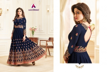 AASHIRWAD CREATION CELEBRITY PARTY WEAR FAUX GEORGETTE EMBROIDERED SALWAR SUITS WHOLESALE PRICE (5) JPG