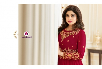 AASHIRWAD CREATION CELEBRITY PARTY WEAR FAUX GEORGETTE EMBROIDERED SALWAR SUITS WHOLESALE PRICE (8) JPG