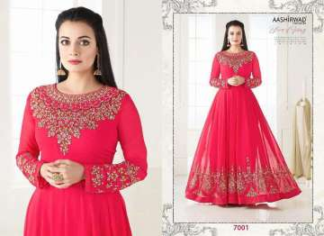 AASHIRWAD CREATION DIA MIRZA VOL-7 EMBROIDERED ANARKALI SUITS WHOLESALE PRICE (2)JPG