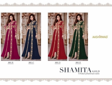 AASHIRWAD CREATION SHAMITA-GOLD PARTY WEAR FAUX GEORGETTE EMBROIDERED GOWN (5) JPG