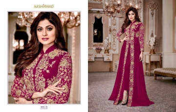 AASHIRWAD CREATION SHAMITA-GOLD PARTY WEAR FAUX GEORGETTE EMBROIDERED GOWN (01) JPG