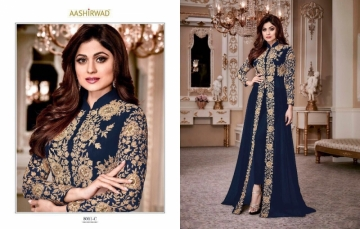 AASHIRWAD CREATION SHAMITA-GOLD PARTY WEAR FAUX GEORGETTE EMBROIDERED GOWN (2) JPG