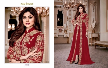 AASHIRWAD CREATION SHAMITA-GOLD PARTY WEAR FAUX GEORGETTE EMBROIDERED GOWN (3) JPG