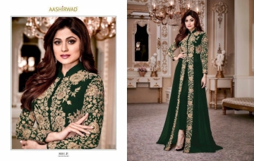 AASHIRWAD CREATION SHAMITA-GOLD PARTY WEAR FAUX GEORGETTE EMBROIDERED GOWN (4) JPG
