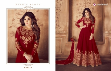 AASHIRWAD RIONA GOLD PARTY WEAR GEORGETTE EMBROIDERED ANARKALI SUITS WHOLESALE PRICE(5)JPG