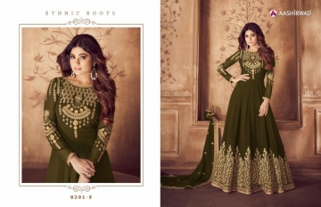 AASHIRWAD RIONA GOLD PARTY WEAR GEORGETTE EMBROIDERED ANARKALI SUITS WHOLESALE PRICE(8)JPG