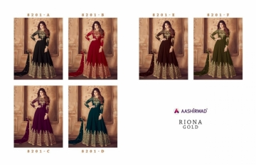 AASHIRWAD RIONA GOLD PARTY WEAR GEORGETTE EMBROIDERED ANARKALI SUITS WHOLESALE PRICE(9)JPG