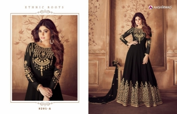 AASHIRWAD RIONA GOLD PARTY WEAR GEORGETTE EMBROIDERED ANARKALI SUITS WHOLESALE PRICE(3)JPG