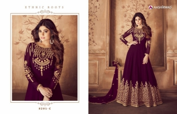 AASHIRWAD RIONA GOLD PARTY WEAR GEORGETTE EMBROIDERED ANARKALI SUITS WHOLESALE PRICE(4)JPG