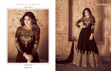 AASHIRWAD RIONA GOLD PARTY WEAR GEORGETTE EMBROIDERED ANARKALI SUITS WHOLESALE PRICE(7)JPG