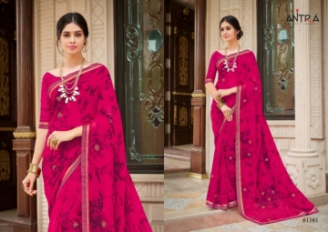 ANTRA PRESENTS RED QUEEN GEORGETTE DIAMOND LACE PRINT SAREE WHOLESALE PRICE (2) JPG