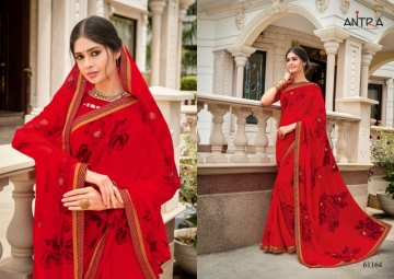 ANTRA PRESENTS RED QUEEN GEORGETTE DIAMOND LACE PRINT SAREE WHOLESALE PRICE (9) JPG