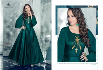 ARIHANT NX FOREVER TAPETA SATIN WITH REYON DESIGNER LONG PARTY WEAR GOWN WHOLESALE PRICE(01)JPG
