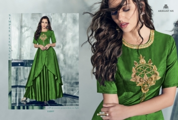 ARIHANT NX FOREVER TAPETA SATIN WITH REYON DESIGNER LONG PARTY WEAR GOWN WHOLESALE PRICE(14)JPG