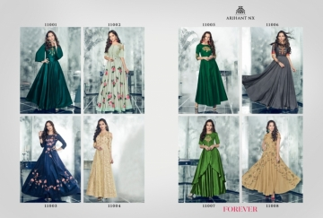 ARIHANT NX FOREVER TAPETA SATIN WITH REYON DESIGNER LONG PARTY WEAR GOWN WHOLESALE PRICE(17)JPG