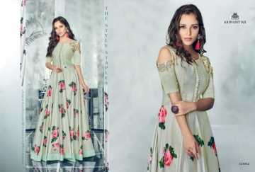 ARIHANT NX FOREVER TAPETA SATIN WITH REYON DESIGNER LONG PARTY WEAR GOWN WHOLESALE PRICE(4)JPG
