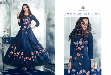 ARIHANT NX FOREVER TAPETA SATIN WITH REYON DESIGNER LONG PARTY WEAR GOWN WHOLESALE PRICE(6)JPG