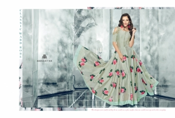 ARIHANT NX FOREVER TAPETA SATIN WITH REYON DESIGNER LONG PARTY WEAR GOWN WHOLESALE PRICE(7)JPG