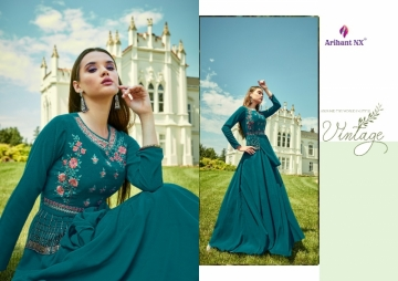 ARIHANT NX GLAM UP VOL-02 GEORGETTE PARTY WEAR GOWNS (3) JPG