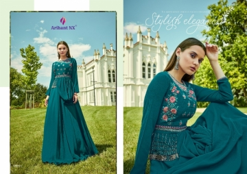 ARIHANT NX GLAM UP VOL-02 GEORGETTE PARTY WEAR GOWNS (5) JPG