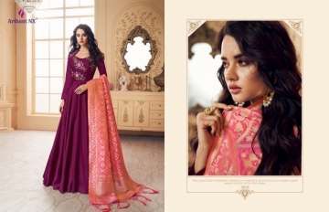 ARIHANT NX PRESENTS RIZWANA VOL 3 EXCLUSIVE PARTY WEAR SATIN SUITS WITH BANARASI DUPATTA COLLECTION WHOLESALE (01).JGP