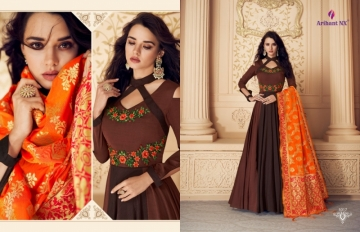 ARIHANT NX PRESENTS RIZWANA VOL 3 EXCLUSIVE PARTY WEAR SATIN SUITS WITH BANARASI DUPATTA COLLECTION WHOLESALE (03).JGP