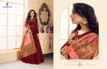 ARIHANT NX PRESENTS RIZWANA VOL 3 EXCLUSIVE PARTY WEAR SATIN SUITS WITH BANARASI DUPATTA COLLECTION WHOLESALE (05).JGP