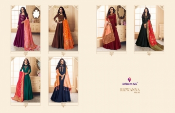 ARIHANT NX PRESENTS RIZWANA VOL 3 EXCLUSIVE PARTY WEAR SATIN SUITS WITH BANARASI DUPATTA COLLECTION WHOLESALE (16).JGP